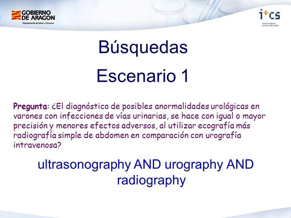Búsquedas ultrasonography AND urography AND radiography Escenario 1 Pregunta: ¿El diagnóstico de posibles anormalidades urológicas en varones con infe