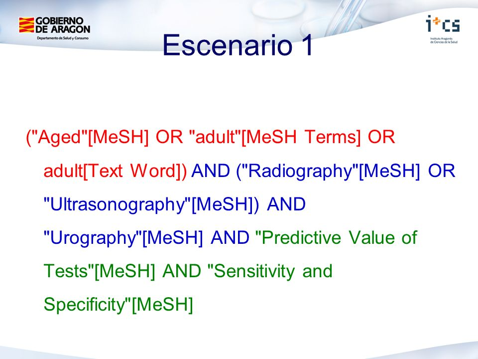 Escenario 1 ( Aged [MeSH] OR adult [MeSH Terms] OR adult[Text Word]) AND ( Radiography [MeSH] OR Ultrasonography [MeSH]) AND Urography [MeSH] AND Predictive Value of Tests [MeSH] AND Sensitivity and Specificity [MeSH]