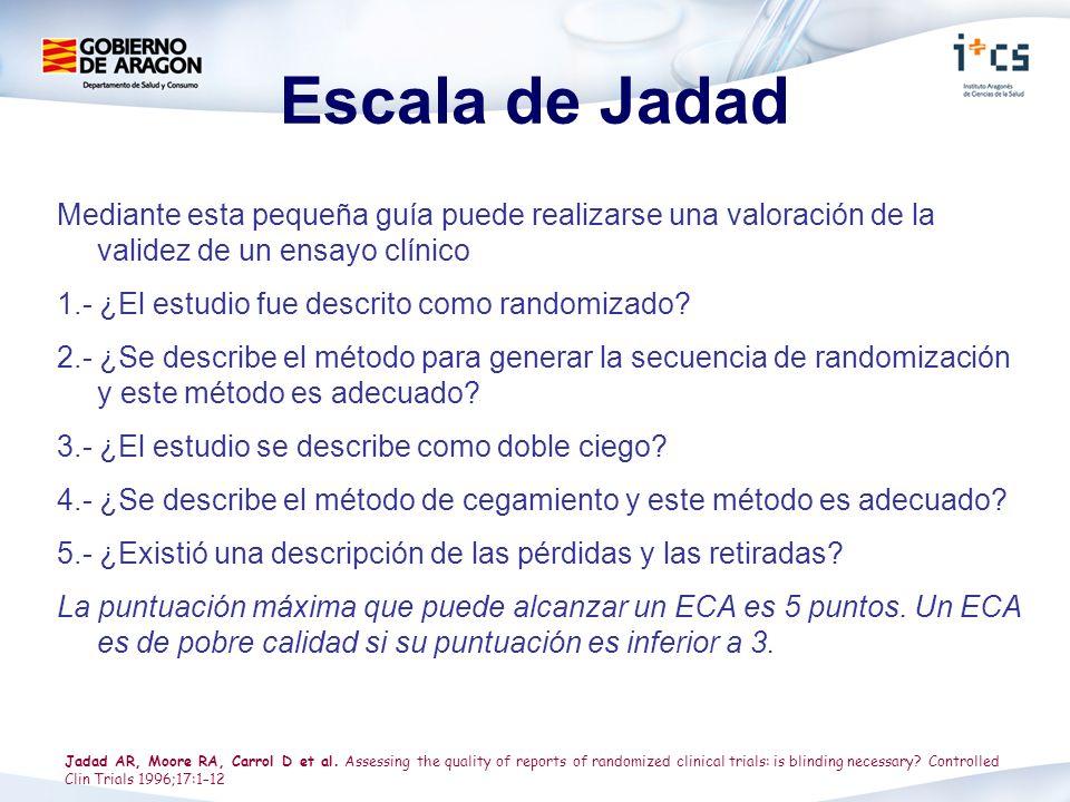 Escala de Jadad Mediante esta pequeña guía puede realizarse una valoración de la validez de un ensayo clínico 1.- ¿El estudio fue descrito como random