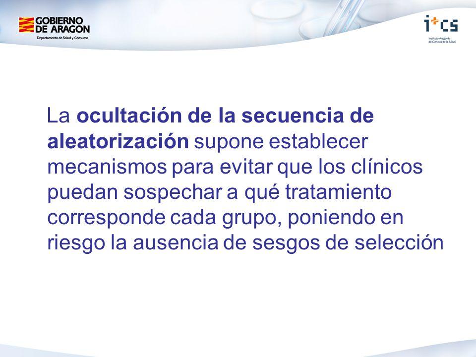 La ocultación de la secuencia de aleatorización supone establecer mecanismos para evitar que los clínicos puedan sospechar a qué tratamiento correspon
