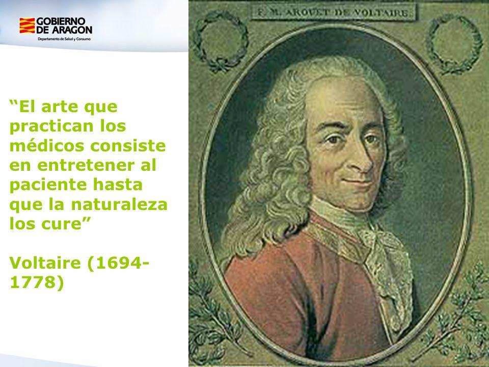 El arte que practican los médicos consiste en entretener al paciente hasta que la naturaleza los cure Voltaire (1694- 1778)