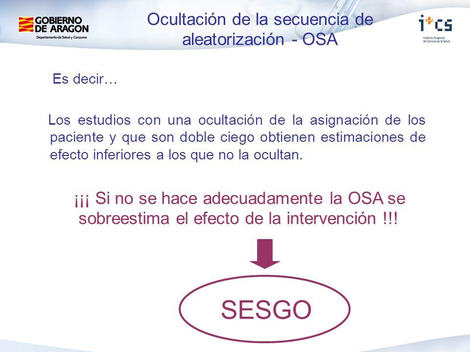 Ocultación de la secuencia de aleatorización - OSA Es decir… Los estudios con una ocultación de la asignación de los paciente y que son doble ciego ob