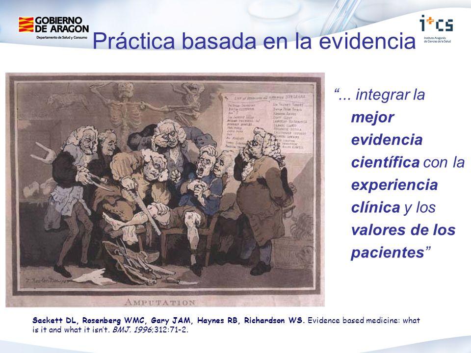 ... integrar la mejor evidencia científica con la experiencia clínica y los valores de los pacientes Sackett DL, Rosenberg WMC, Gary JAM, Haynes RB, R