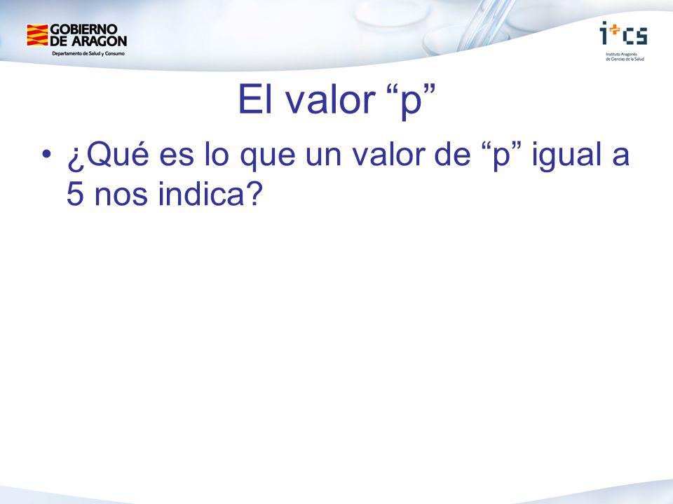 El valor p ¿Qué es lo que un valor de p igual a 5 nos indica?