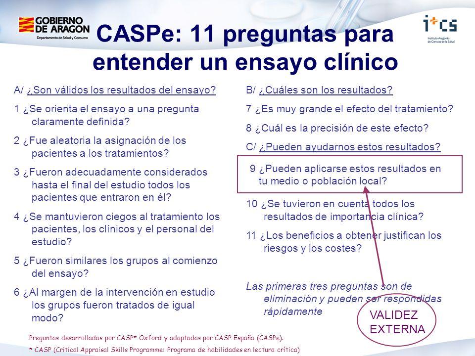 CASPe: 11 preguntas para entender un ensayo clínico A/ ¿Son válidos los resultados del ensayo? 1 ¿Se orienta el ensayo a una pregunta claramente defin