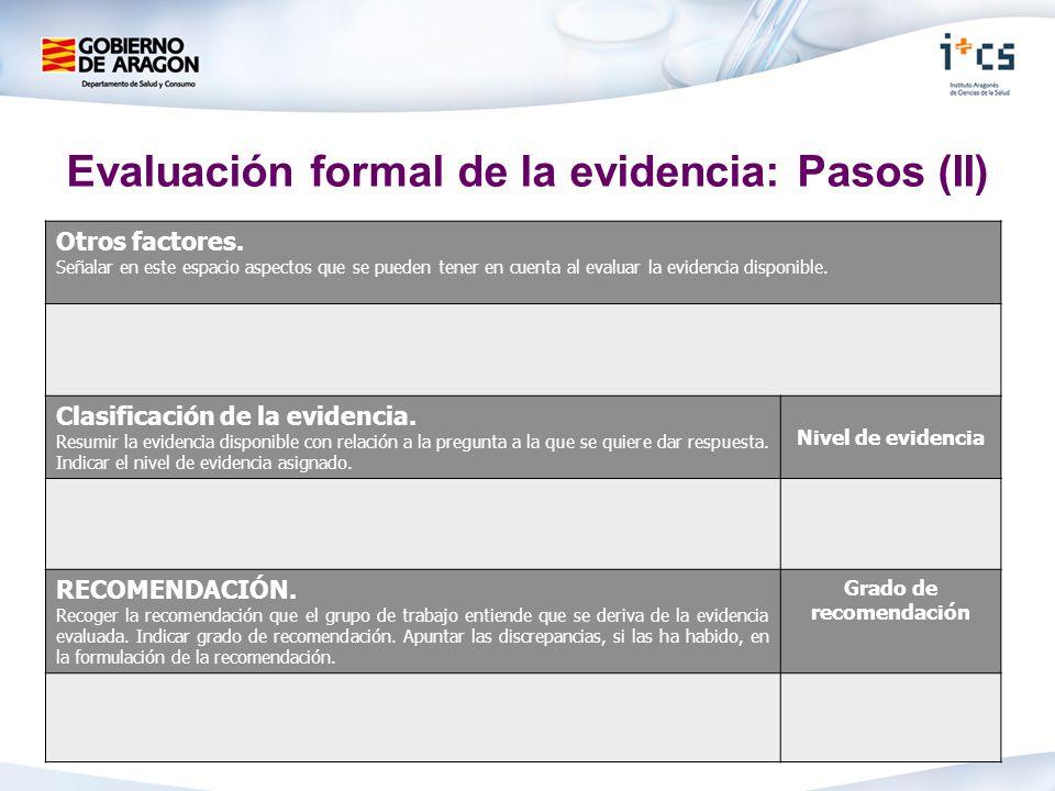 Evaluación formal de la evidencia: Pasos (II) Otros factores. Señalar en este espacio aspectos que se pueden tener en cuenta al evaluar la evidencia d