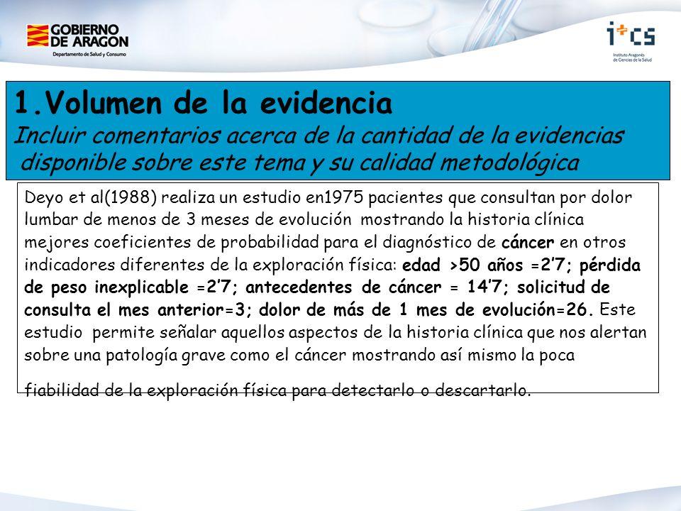 1.Volumen de la evidencia Incluir comentarios acerca de la cantidad de la evidencias disponible sobre este tema y su calidad metodológica Deyo et al(1