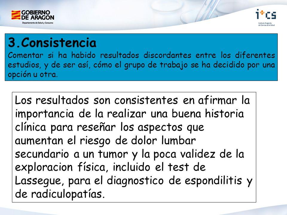 3.Consistencia Comentar si ha habido resultados discordantes entre los diferentes estudios, y de ser así, cómo el grupo de trabajo se ha decidido por una opción u otra.