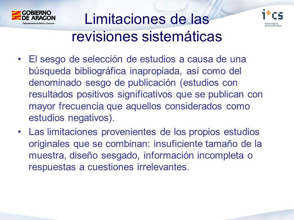 Limitaciones de las revisiones sistemáticas El sesgo de selección de estudios a causa de una búsqueda bibliográfica inapropiada, así como del denomina