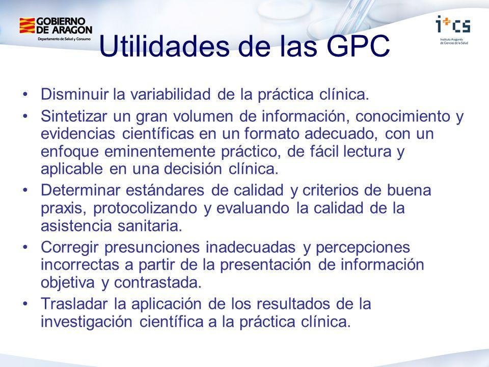 Utilidades de las GPC Disminuir la variabilidad de la práctica clínica. Sintetizar un gran volumen de información, conocimiento y evidencias científic