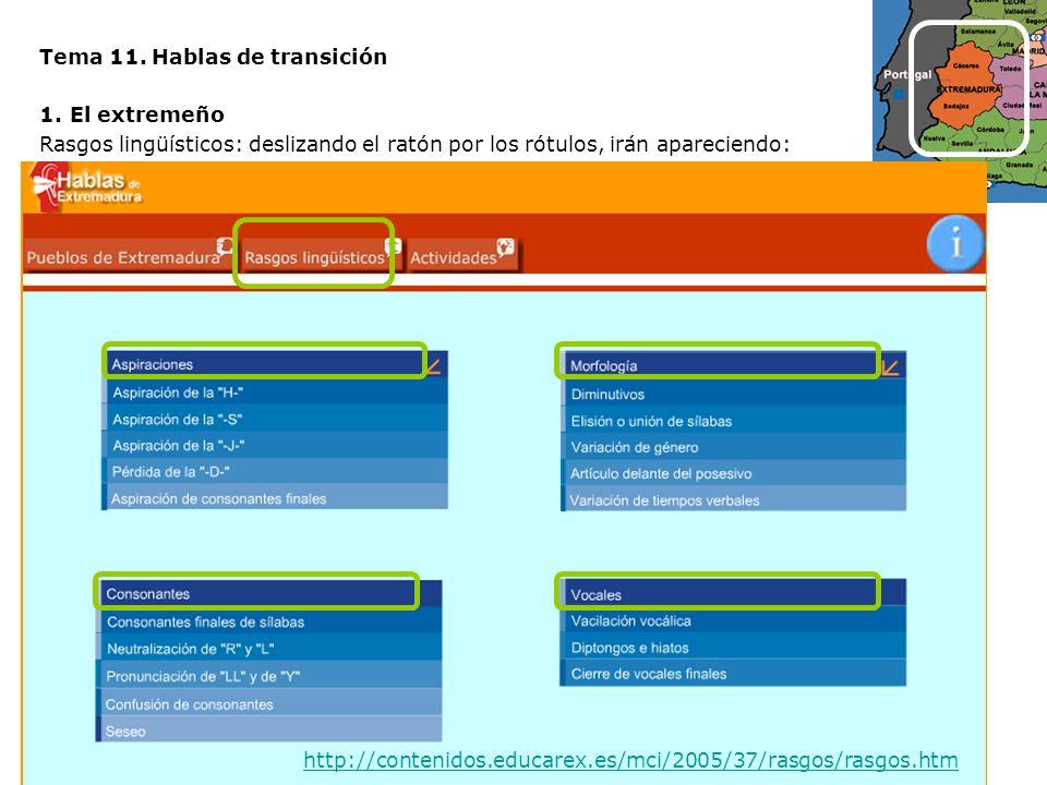 Tema 11. Hablas de transición 1.El extremeño Rasgos lingüísticos: deslizando el ratón por los rótulos, irán apareciendo: http://contenidos.educarex.es
