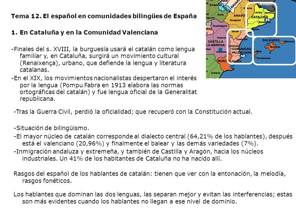 Tema 12. El español en comunidades bilingües de España 1.En Cataluña y en la Comunidad Valenciana -Finales del s. XVIII, la burguesía usará el catalán