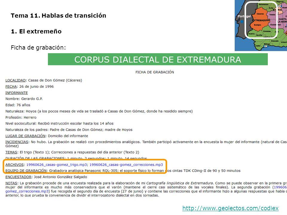 Tema 11. Hablas de transición 1.El extremeño Ficha de grabación: http://www.geolectos.com/codiex