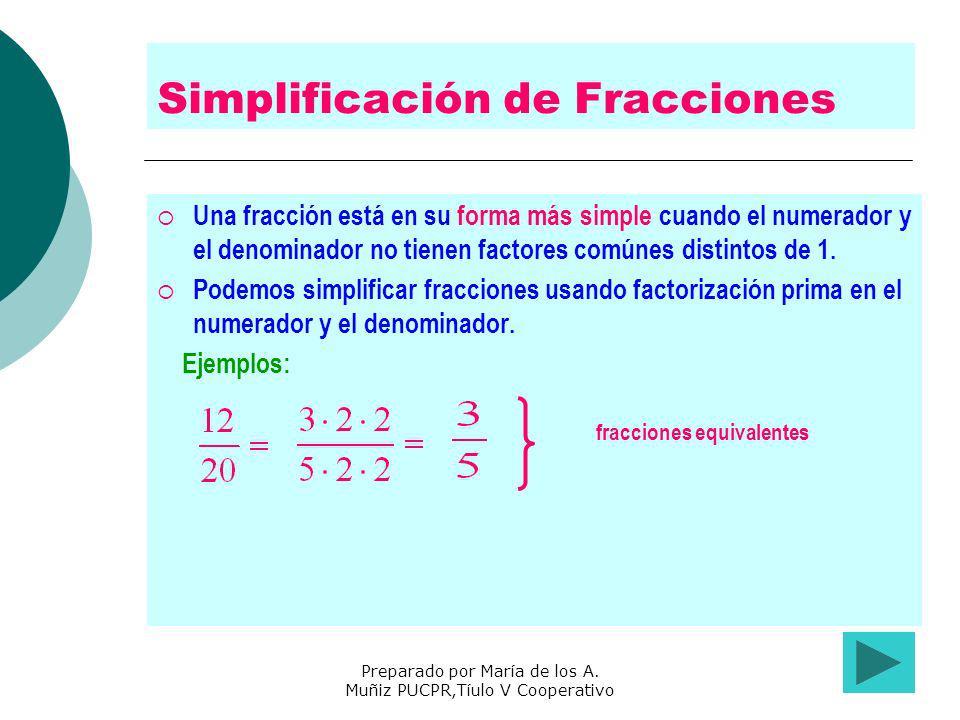Preparado por María de los A. Muñiz PUCPR,Tíulo V Cooperativo Simplificación de Fracciones Una fracción está en su forma más simple cuando el numerado
