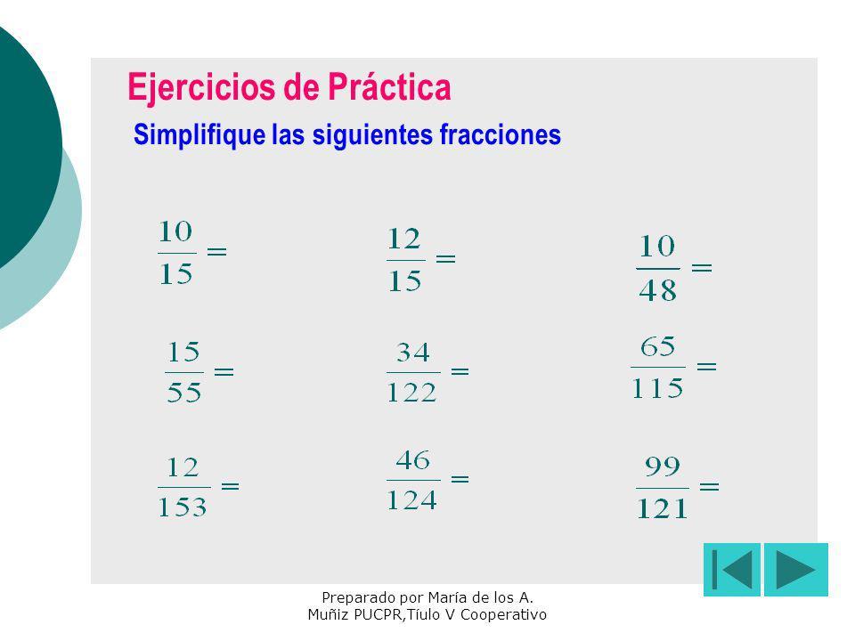 Preparado por María de los A. Muñiz PUCPR,Tíulo V Cooperativo Ejercicios de Práctica Simplifique las siguientes fracciones