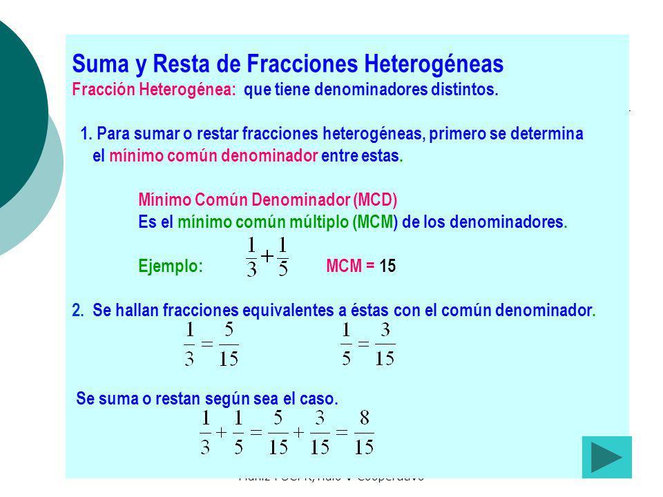 Preparado por María de los A. Muñiz PUCPR,Tíulo V Cooperativo Suma y Resta de Fracciones Heterogéneas Fracción Heterogénea: que tiene denominadores di