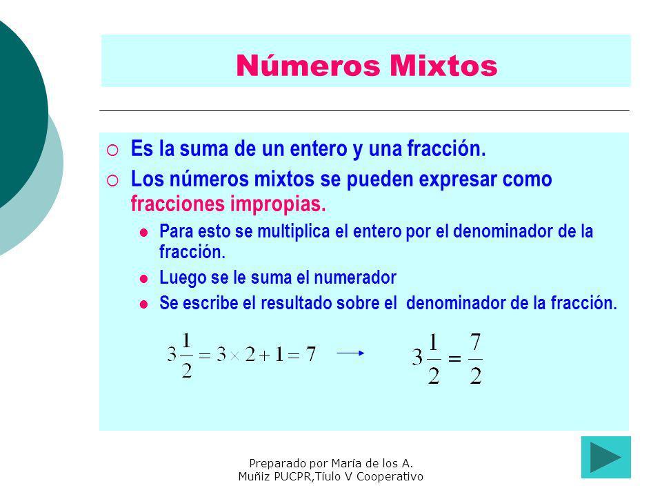 Preparado por María de los A. Muñiz PUCPR,Tíulo V Cooperativo Números Mixtos Es la suma de un entero y una fracción. Los números mixtos se pueden expr