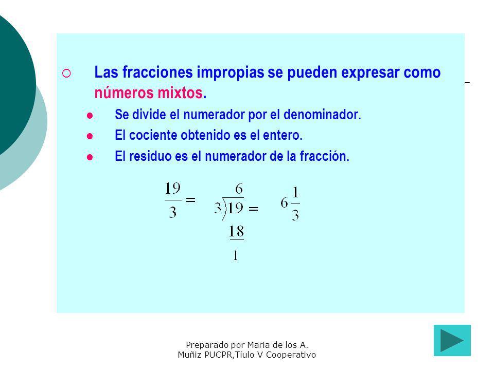Preparado por María de los A. Muñiz PUCPR,Tíulo V Cooperativo Las fracciones impropias se pueden expresar como números mixtos. Se divide el numerador