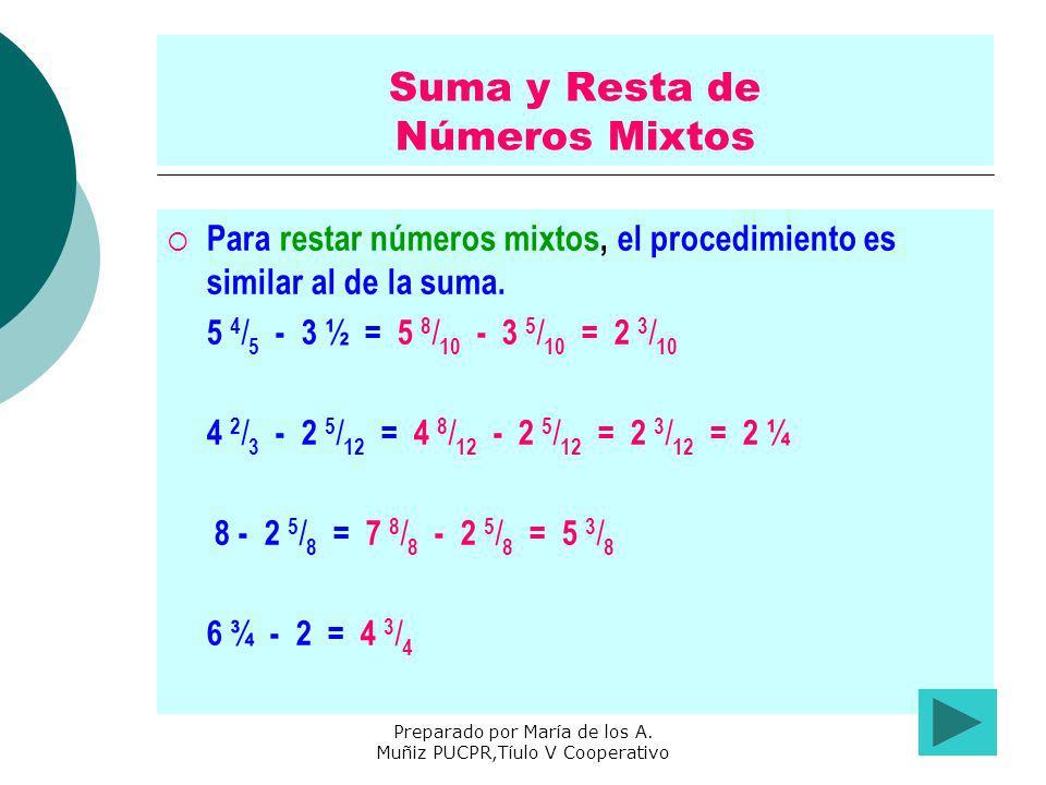Preparado por María de los A. Muñiz PUCPR,Tíulo V Cooperativo Suma y Resta de Números Mixtos Para restar números mixtos, el procedimiento es similar a