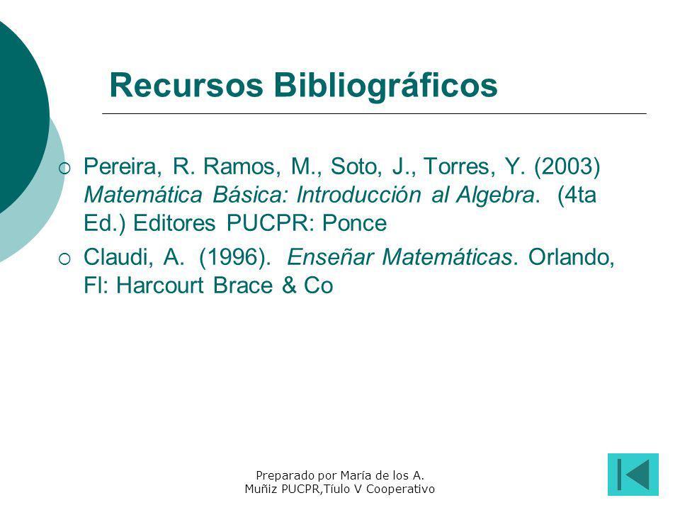 Preparado por María de los A. Muñiz PUCPR,Tíulo V Cooperativo Recursos Bibliográficos Pereira, R. Ramos, M., Soto, J., Torres, Y. (2003) Matemática Bá