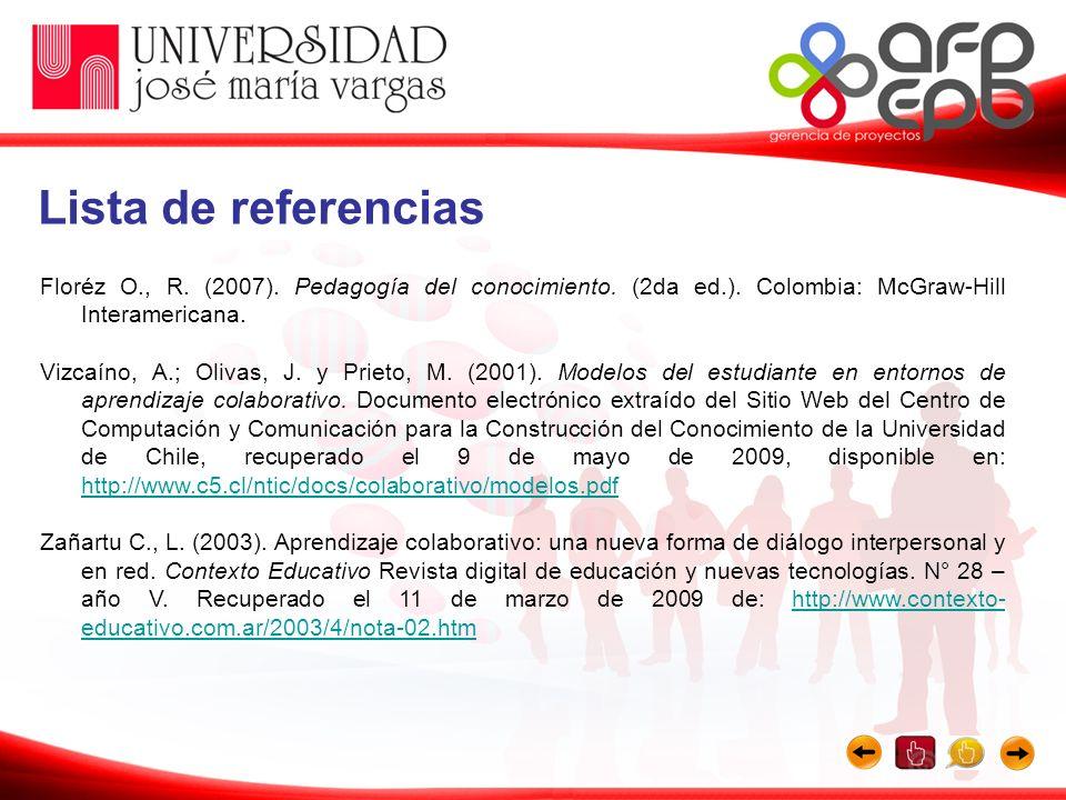 Floréz O., R. (2007). Pedagogía del conocimiento. (2da ed.). Colombia: McGraw-Hill Interamericana. Vizcaíno, A.; Olivas, J. y Prieto, M. (2001). Model