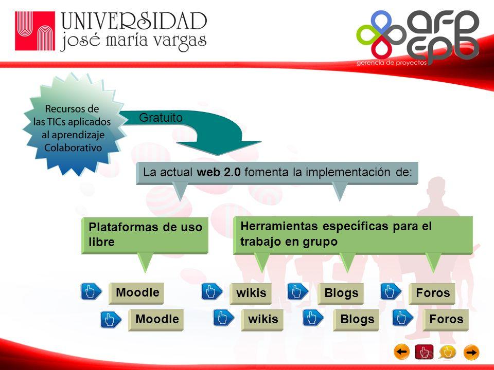 La actual web 2.0 fomenta la implementación de: Plataformas de uso libre Herramientas específicas para el trabajo en grupo Gratuito Moodle wikisBlogsF