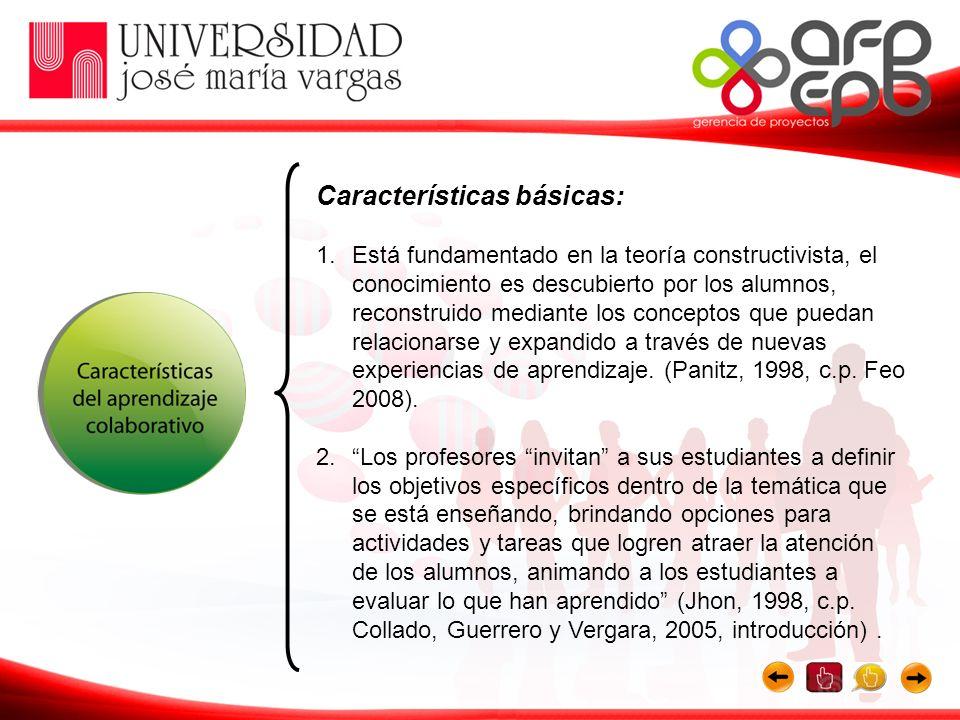 Características básicas: 1.Está fundamentado en la teoría constructivista, el conocimiento es descubierto por los alumnos, reconstruido mediante los c