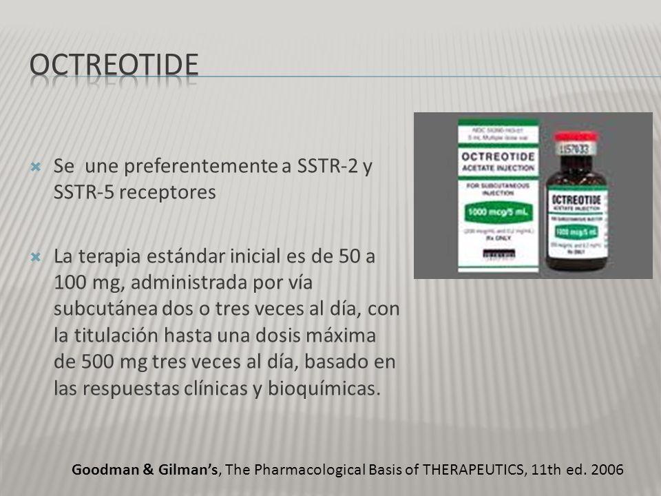 Se une preferentemente a SSTR-2 y SSTR-5 receptores La terapia estándar inicial es de 50 a 100 mg, administrada por vía subcutánea dos o tres veces al