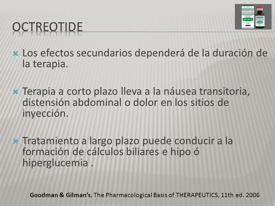 Los efectos secundarios dependerá de la duración de la terapia. Terapia a corto plazo lleva a la náusea transitoria, distensión abdominal o dolor en l