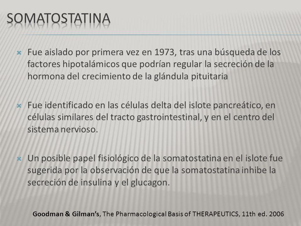 La somatostatina original (S-14), una extendida 28-amino- ácido molécula peptídica (S-28), y un fragmento que contiene los primeros 12 aminoácidos de la somatostatina -28.