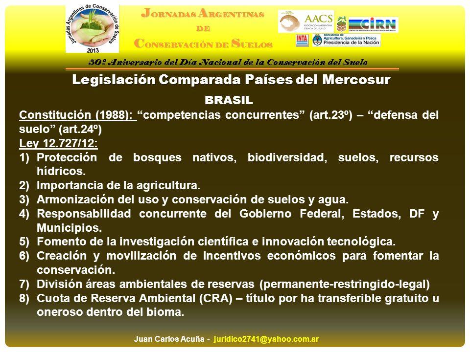 Legislación Comparada Países del Mercosur BRASIL Constitución (1988): competencias concurrentes (art.23º) – defensa del suelo (art.24º) Ley 12.727/12: