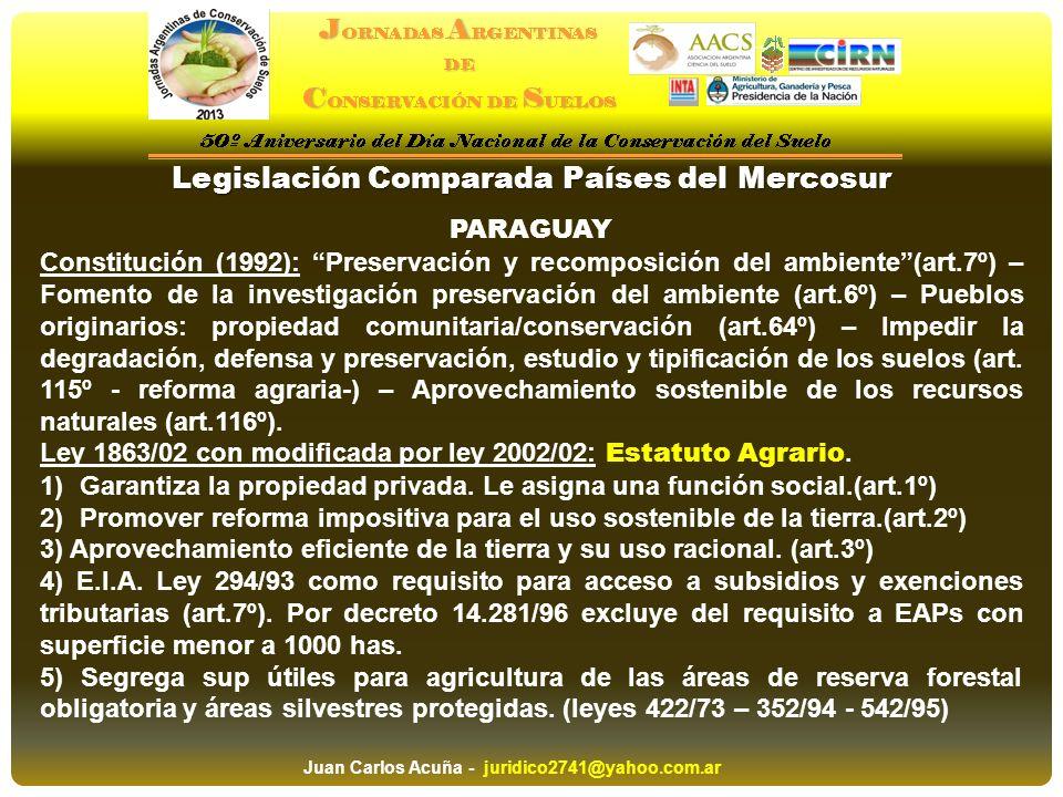 Legislación Comparada Países del Mercosur PARAGUAY Constitución (1992): Preservación y recomposición del ambiente(art.7º) – Fomento de la investigació