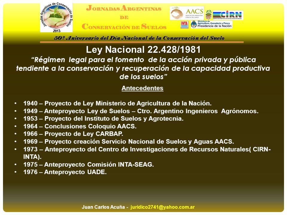 Ley Nacional 22.428/1981 Régimen legal para el fomento de la acción privada y pública tendiente a la conservación y recuperación de la capacidad produ