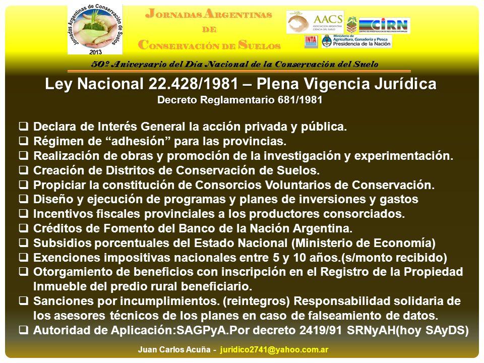 Ley Nacional 22.428/1981 – Plena Vigencia Jurídica Decreto Reglamentario 681/1981 Declara de Interés General la acción privada y pública. Régimen de a