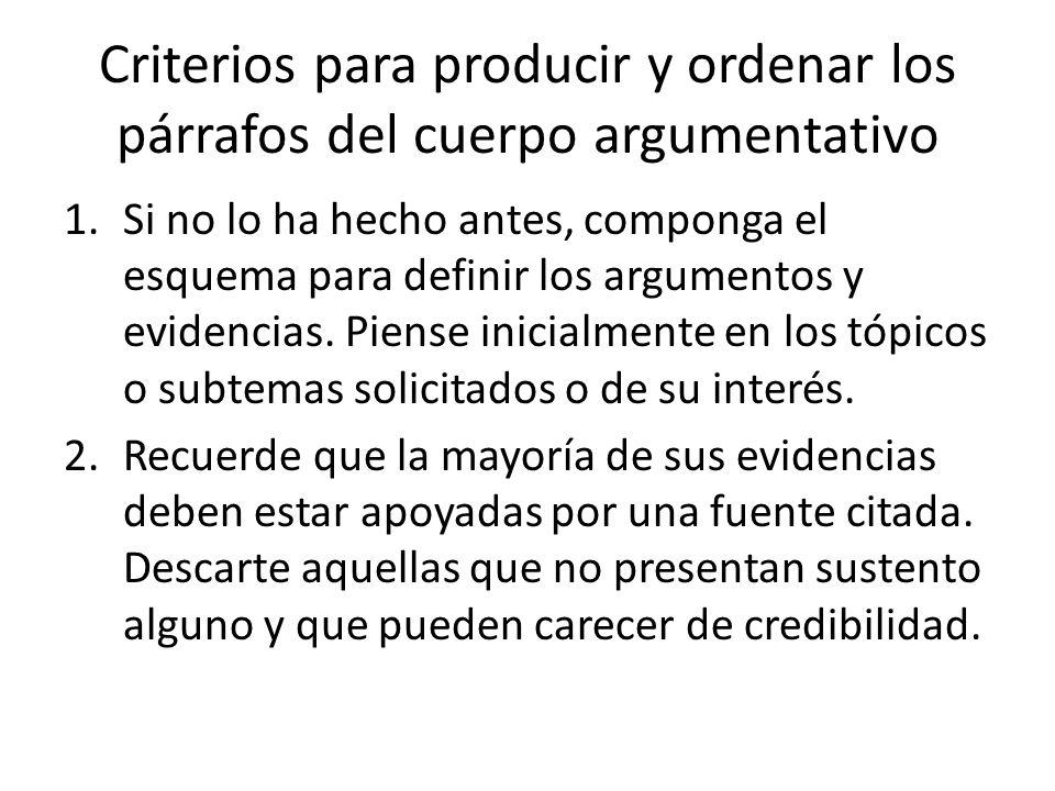 Criterios para producir y ordenar los párrafos del cuerpo argumentativo 1.Si no lo ha hecho antes, componga el esquema para definir los argumentos y evidencias.