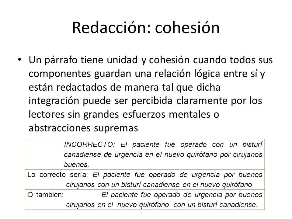 Redacción: cohesión Un párrafo tiene unidad y cohesión cuando todos sus componentes guardan una relación lógica entre sí y están redactados de manera