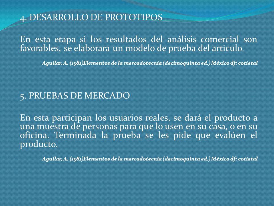4. DESARROLLO DE PROTOTIPOS En esta etapa si los resultados del análisis comercial son favorables, se elaborara un modelo de prueba del articulo. Agui
