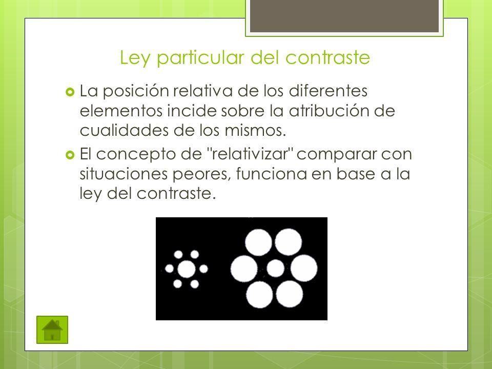 Ley particular del contraste La posición relativa de los diferentes elementos incide sobre la atribución de cualidades de los mismos.