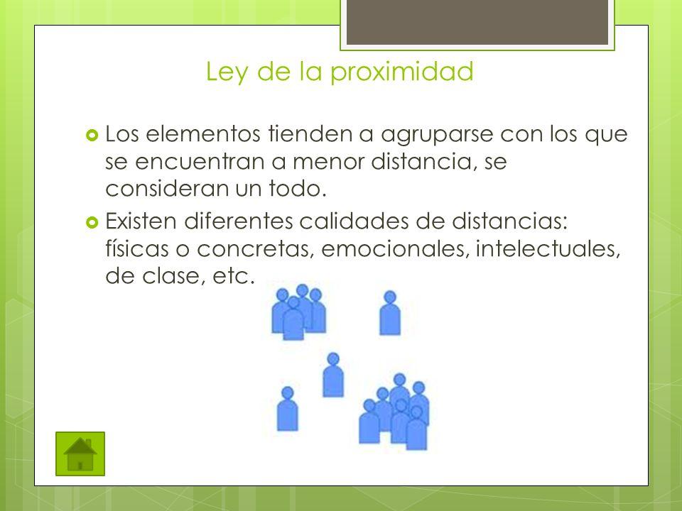 Ley de la proximidad Los elementos tienden a agruparse con los que se encuentran a menor distancia, se consideran un todo.