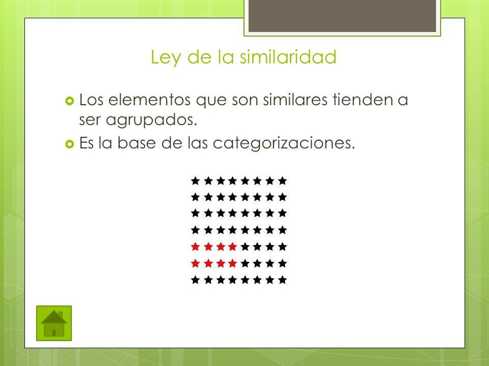 Ley de la similaridad Los elementos que son similares tienden a ser agrupados. Es la base de las categorizaciones.