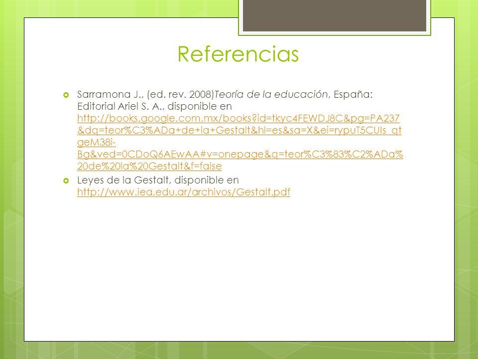 Referencias Sarramona J., (ed.rev. 2008)Teoría de la educación, España: Editorial Ariel S.