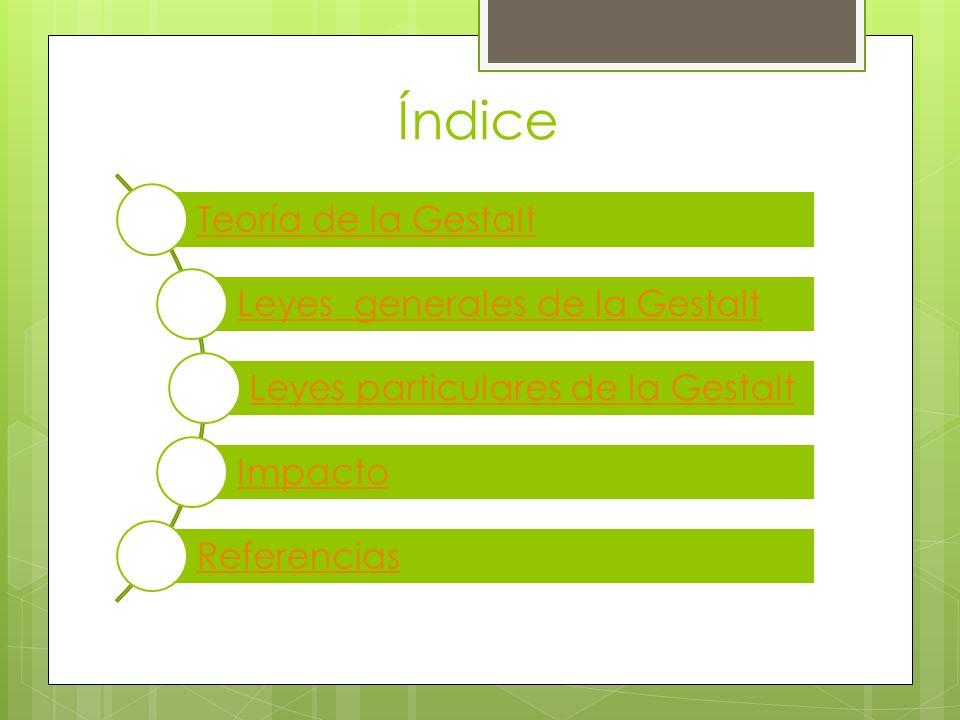 Índice Teoría de la Gestalt Leyes generales de la Gestalt Leyes particulares de la Gestalt Impacto Referencias