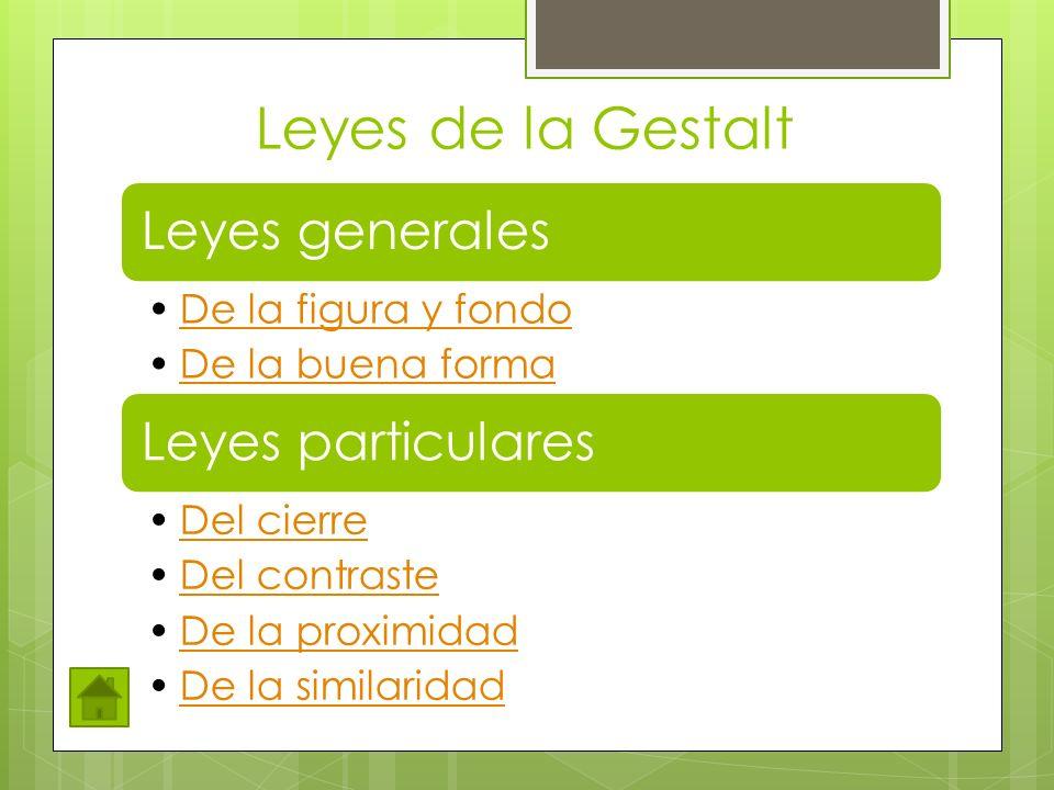 Leyes de la Gestalt Leyes generales De la figura y fondo De la buena forma Leyes particulares Del cierre Del contraste De la proximidad De la similari