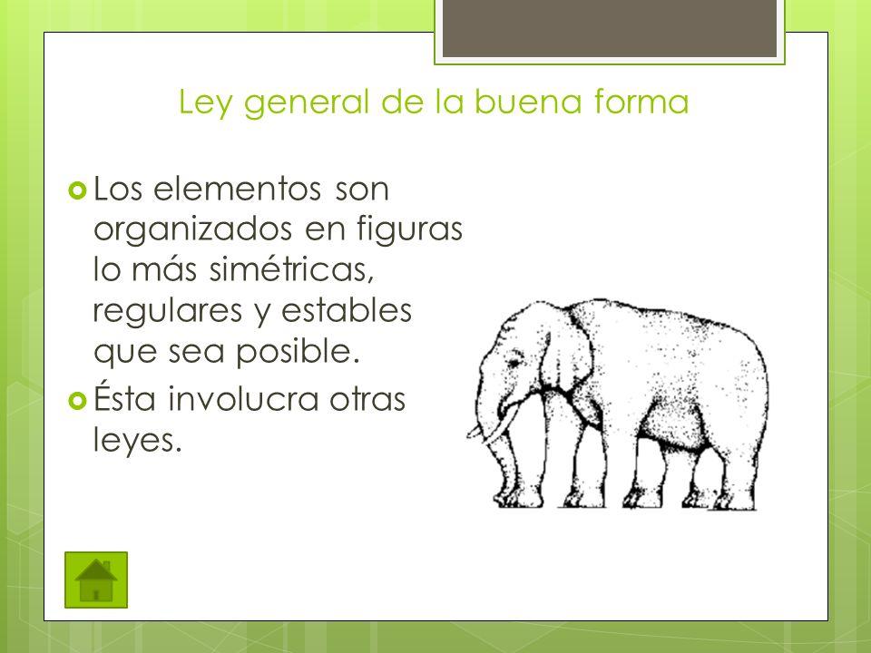 Ley general de la buena forma Los elementos son organizados en figuras lo más simétricas, regulares y estables que sea posible.