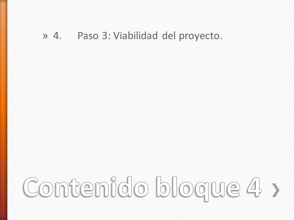 » 4. Paso 3: Viabilidad del proyecto.