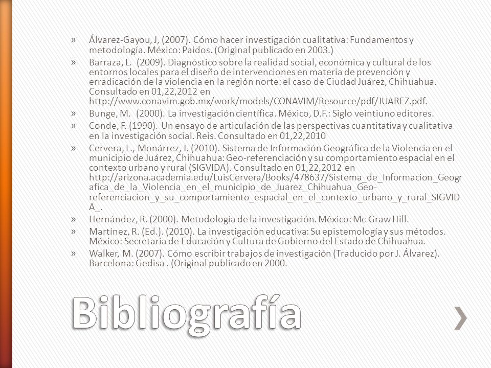 » Álvarez-Gayou, J, (2007). Cómo hacer investigación cualitativa: Fundamentos y metodología. México: Paidos. (Original publicado en 2003.) » Barraza,
