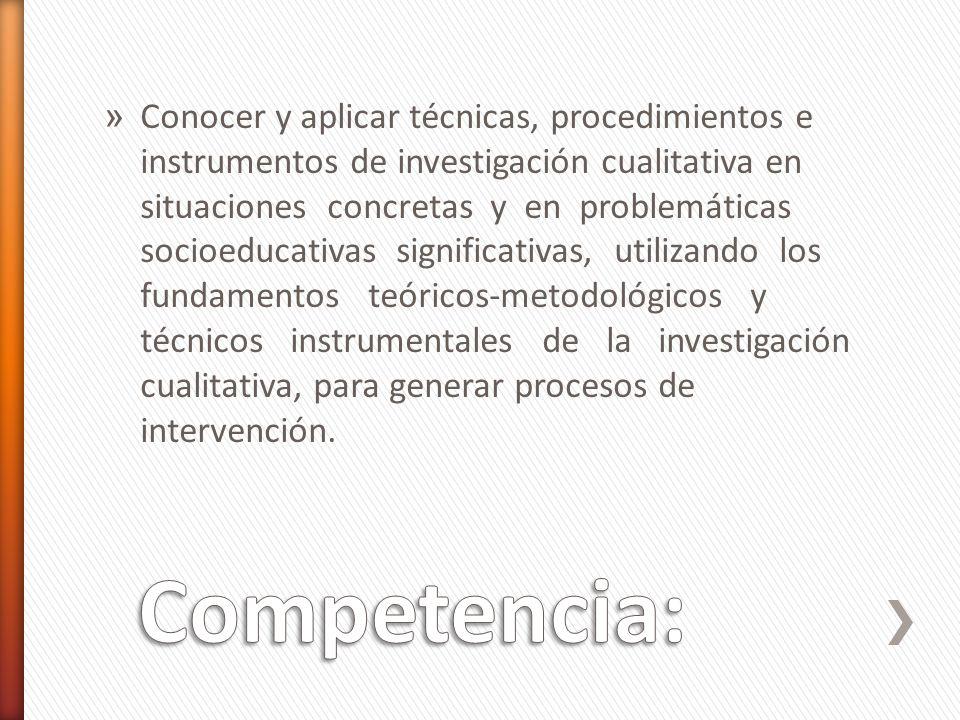 » Conocer y aplicar técnicas, procedimientos e instrumentos de investigación cualitativa en situaciones concretas y en problemáticas socioeducativas s