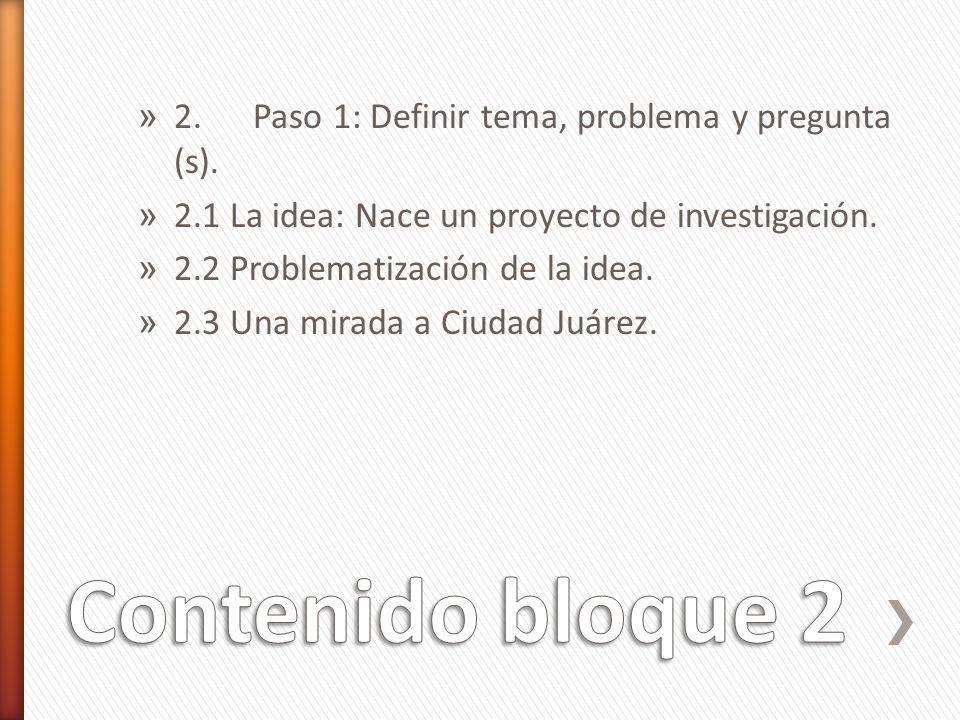 » 2. Paso 1: Definir tema, problema y pregunta (s). » 2.1 La idea: Nace un proyecto de investigación. » 2.2 Problematización de la idea. » 2.3 Una mir