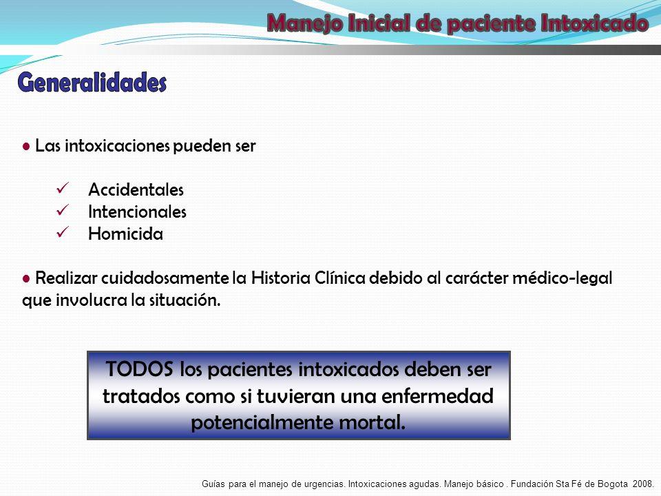 Las intoxicaciones pueden ser Accidentales Intencionales Homicida Realizar cuidadosamente la Historia Clínica debido al carácter médico-legal que invo