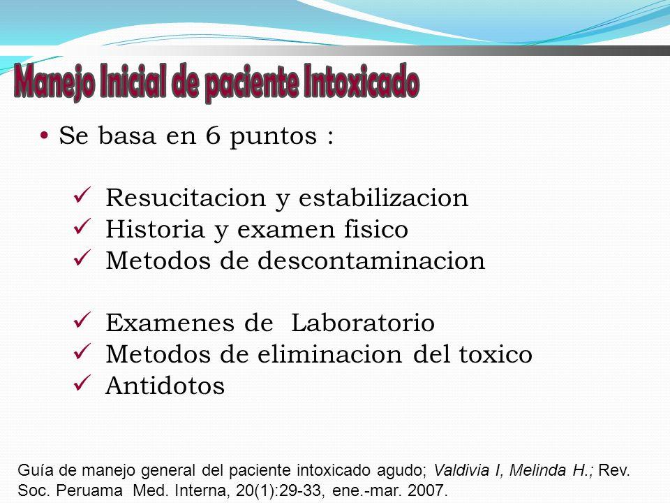 Se basa en 6 puntos : Resucitacion y estabilizacion Historia y examen fisico Metodos de descontaminacion Examenes de Laboratorio Metodos de eliminacio
